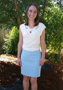 Blue Skirt w/ White Shirt – Karin