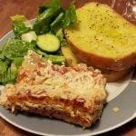 Vegan lasagna & garlic bread