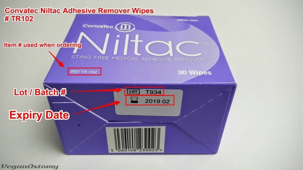 ConvaTec Niltac adhesive removal wipes package info