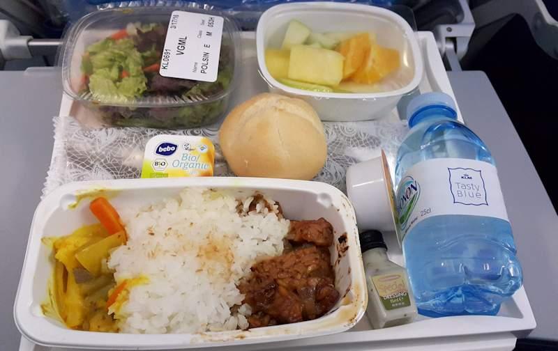 KLM vegan temphe meal Amsterdam to Toronto