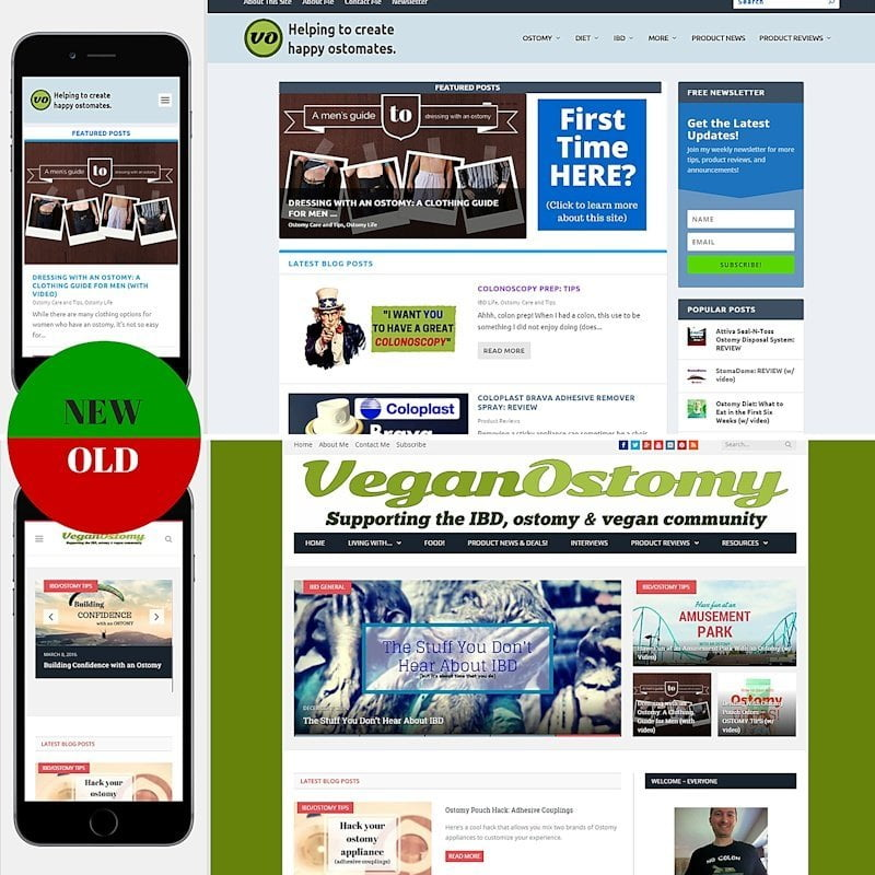 veganostomy homepage compare 1 vs 2.0