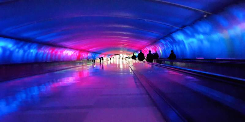 Detroit Airport trippy tunnel