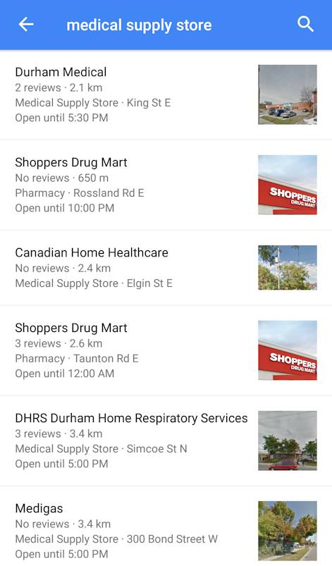 Medical suppliers Google Maps - Copy