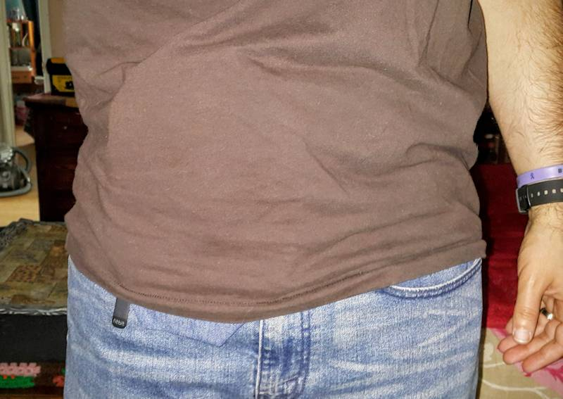 Wearing denim CS ostomy pouch cover under shirt