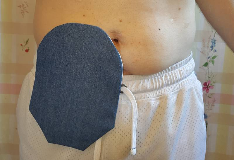 Wearing denim CS ostomy pouch cover
