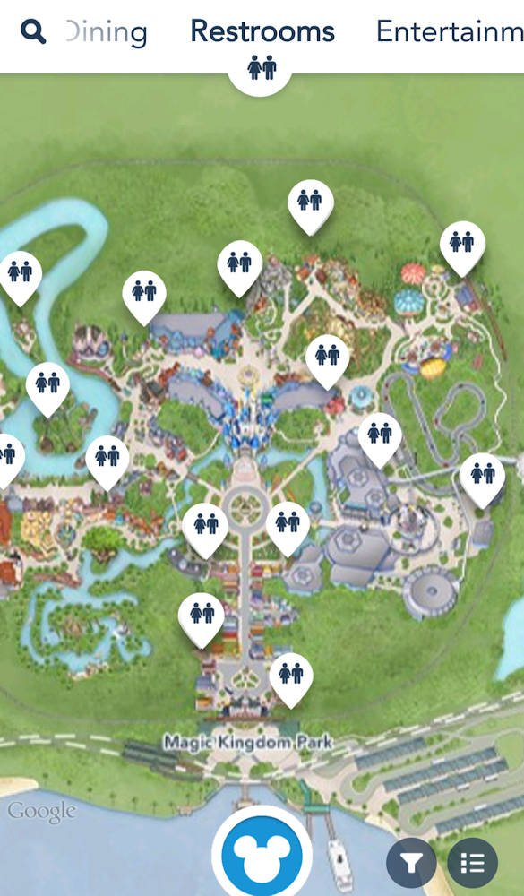 Disney app bathroom finder