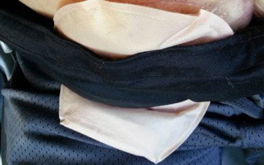 Comfee Drive seatbelt cover over ostomy appliance