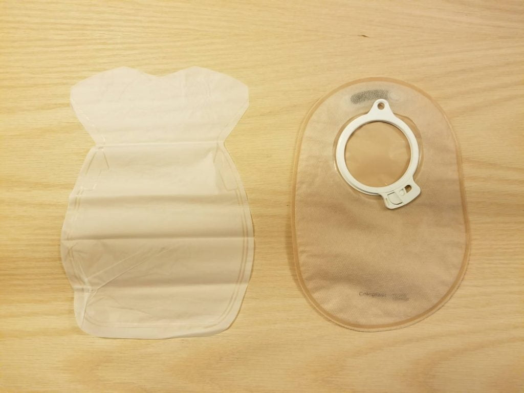 Colo-majic liner next to closed ostomy bag