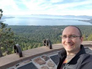 Selfie behind Lake Tahoe