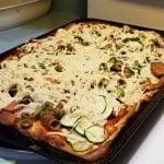 Fully loaded vegan pizza