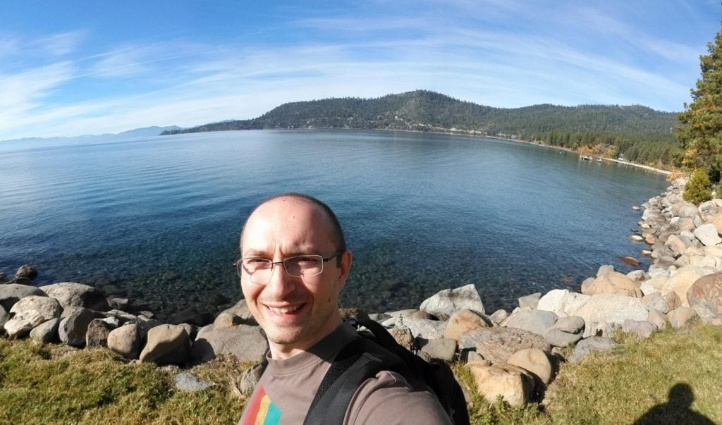 Selfie at beach near Incline Village