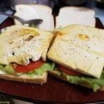 Sliced tofu sandwich with vegan mayo