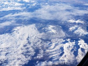 Snow covered mountains from the sky